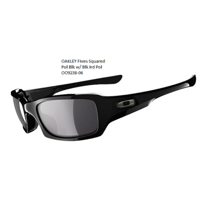 OAKLEY Fives Squared Pol Blk w/ Blk Ird Pol OO9238-06