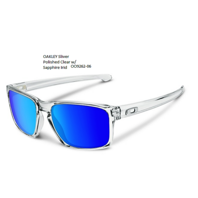 OAKLEY Sliver Polished Clear w/ PRIZM Sapphire Irid,OO9262-4757