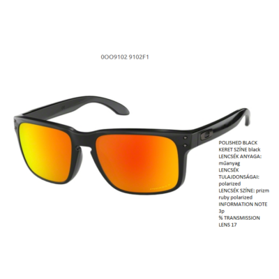 08576036e6 Oakley Holbrook POLISHED BLACK prizm ruby polarized OO9102-F1 Napszemüveg