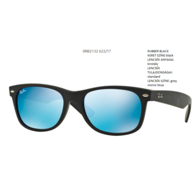 Ray-Ban RB2132 6222/17  NEW WAYFARER RUBBER BLACK/grey mirror blue Napszemüveg