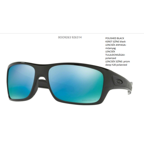 OAKLEY OO9263-14 TURBINE POLISHED BLACK/prizm deep h20 polarzied